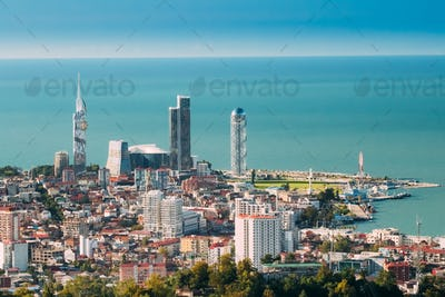 Batumi, Adjara, Georgia. Aerial View Of Urban Cityscape At Sunse
