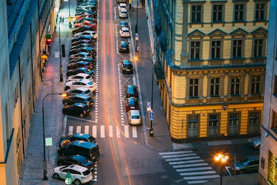 Prague, Czech Republic. Top View Of Traffic And Parked Cars On T