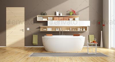 Moder bathroom with round bathtub