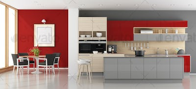 Red and gray modern kitchen