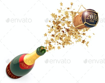 champagne uncorked at New year's eve