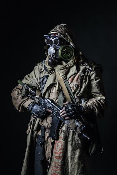studio shot of nuclear survivor