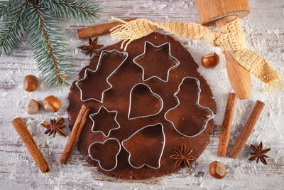 Dough for cookies, spice and ingredient for baking gingerbread, Christmas time concept