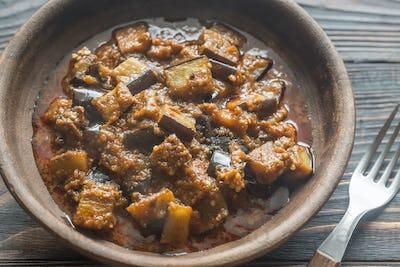 Bowl of aubergine with rogan josh sauce