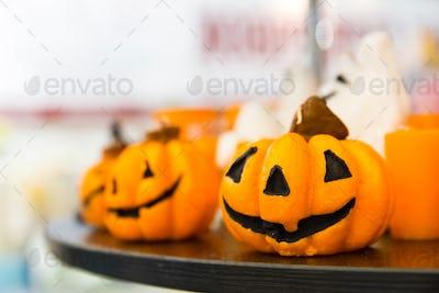 Halloween pumpkins closeup, traditional decoration