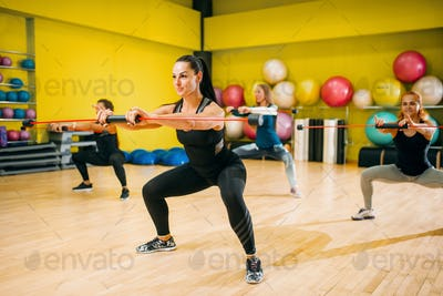 Women group on fitness training, aerobic