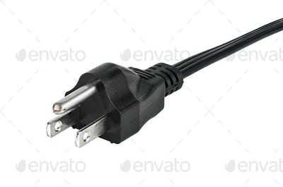 American electric plug on white background