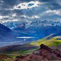 HImalayan landscape in Himalayas with river