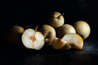 Nashi Pears on a dark background
