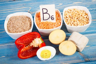 Products and ingredients containing vitamin B6, minerals and dietary fiber