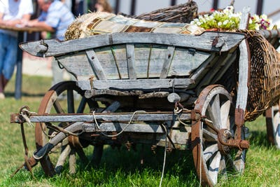 Old wooden cart with flower pots.