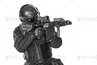 swat police special forces with rifle