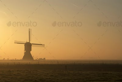 Windmill Zandwijkse Molen near Uppel in the Dutch province Noord-Brabant