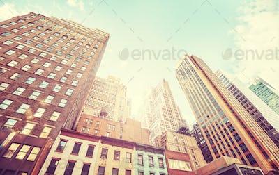 Manhattan buildings at sunset, USA.