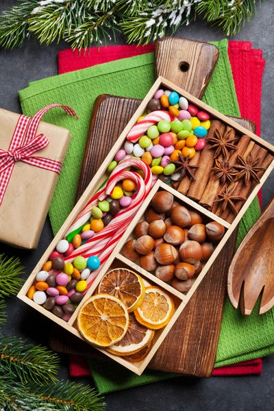 Christmas food decor and cooking utensils