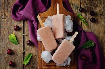 Cherry Ice cream with fresh cherries and ices