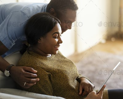 African couple having a great time together