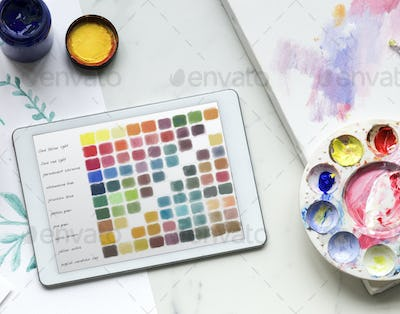 Painting color objects on a marble table