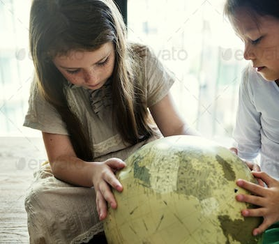 Girls Friends Globe Geography Concept