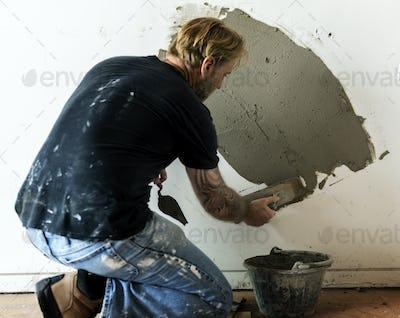 Plaster cement wall indoor construction
