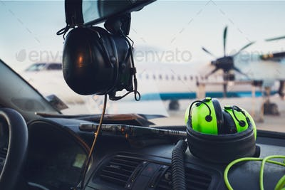 Headphones of the ground staff