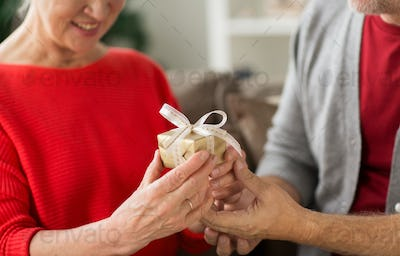 close up of senior couple with christmas gift