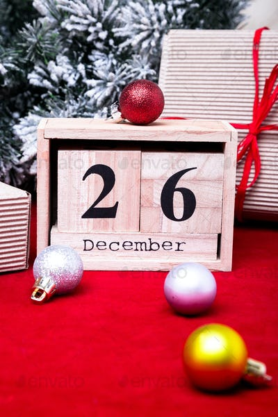 Boxing Day Sale. Calendar with date on red background. Christmas concept. December 26.