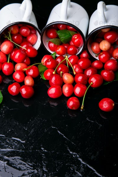 Scattered cherry from enamel cups.