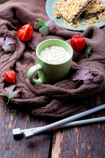 Cup of coffee or hot chocolate with marshmallow