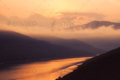 Colorful sunrise landscape view of Zhinvali lake, Country of Georgia