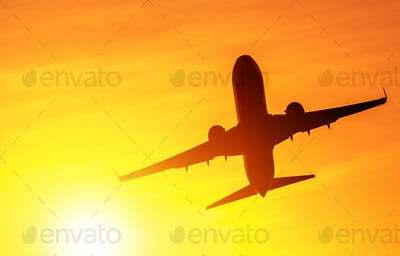 Airplane Taking Off in the Sun