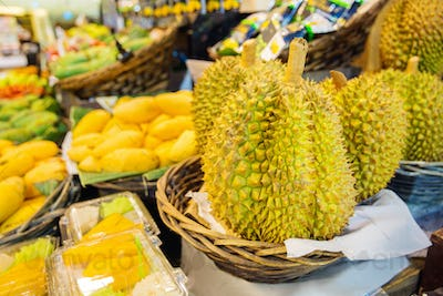 Durian Fruits For Sale On Market Stall