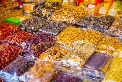 Various Packed Dried Food For Sale At Local Market