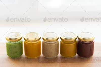 vegetable or fruit puree or baby food in jars