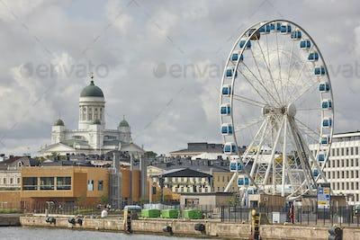Helsinki skyline city center and harbor. Travel Finland. Horizontal