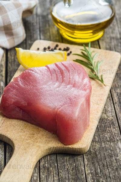 Fresh raw tuna steak.