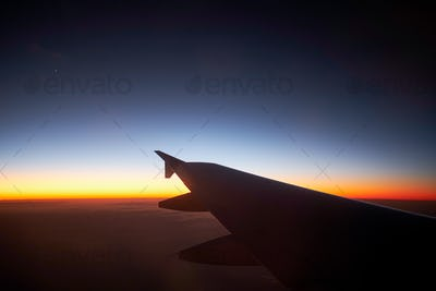 sunset is seeing from airplane