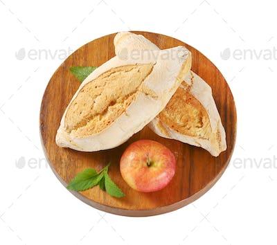 two rustic bread rolls