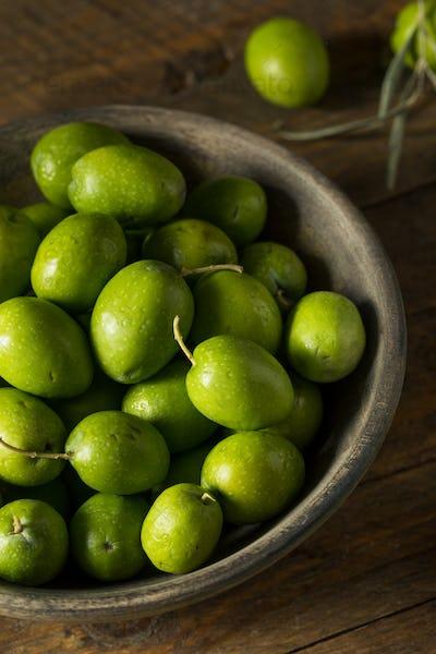 Raw Green Organic Fresh Olives