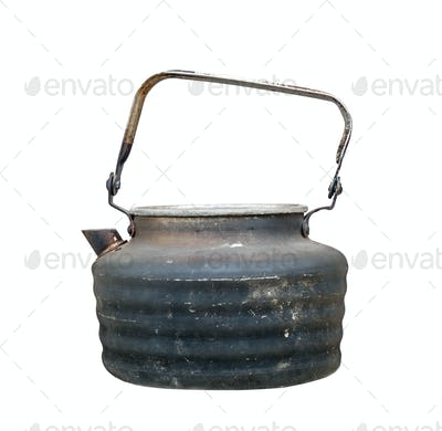 Old Used Teapot on White Background