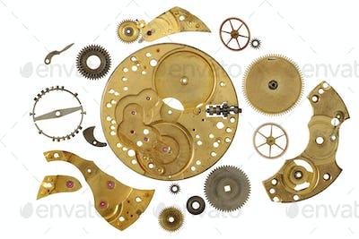Disassembled clockwork mechanism