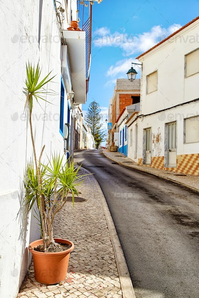 Beautiful narrow street of Alvor, Portugal