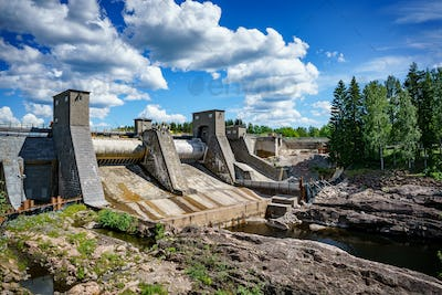 Hydroelectric power station dam in Imatra