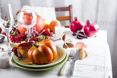 decorated table with pumpkin