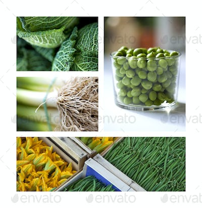 Collage of green vegetable