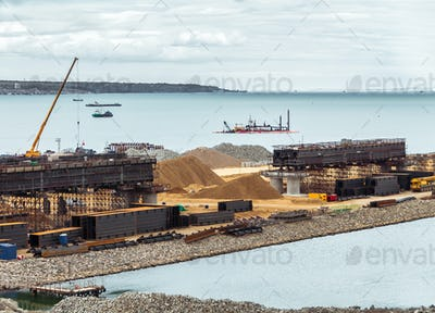 Construction of a bridge across the strait. Crimean bridge. The