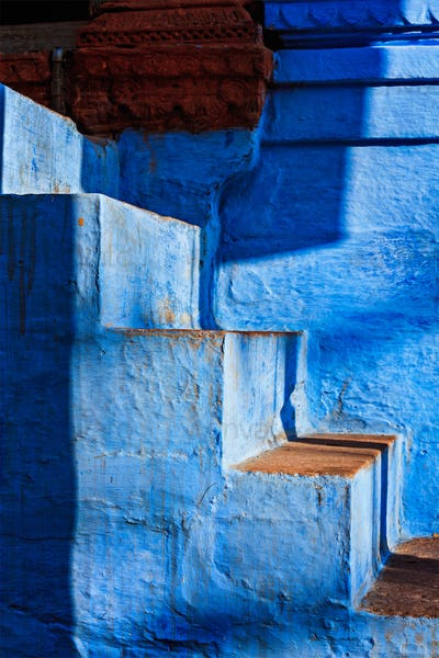 """Stairs of blue painted house in Jodhpur, also known as """"Blue Cit"""