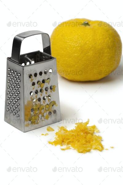 Fresh zest of a yellow Japanese Yuzu