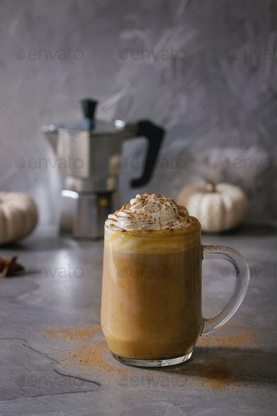 Glass of pumpkin latte