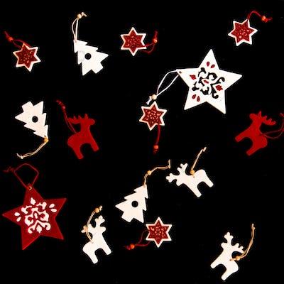 Collection of handmade Christmas ornaments on black